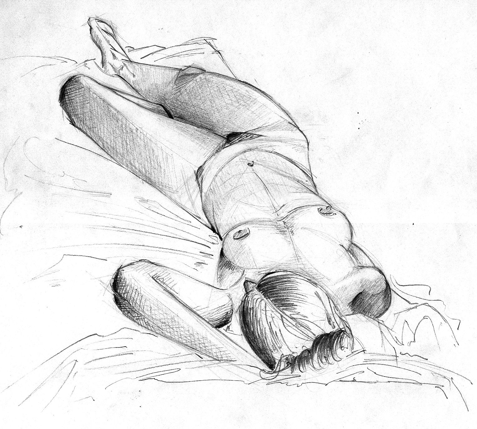 Woman body study drawing pencil