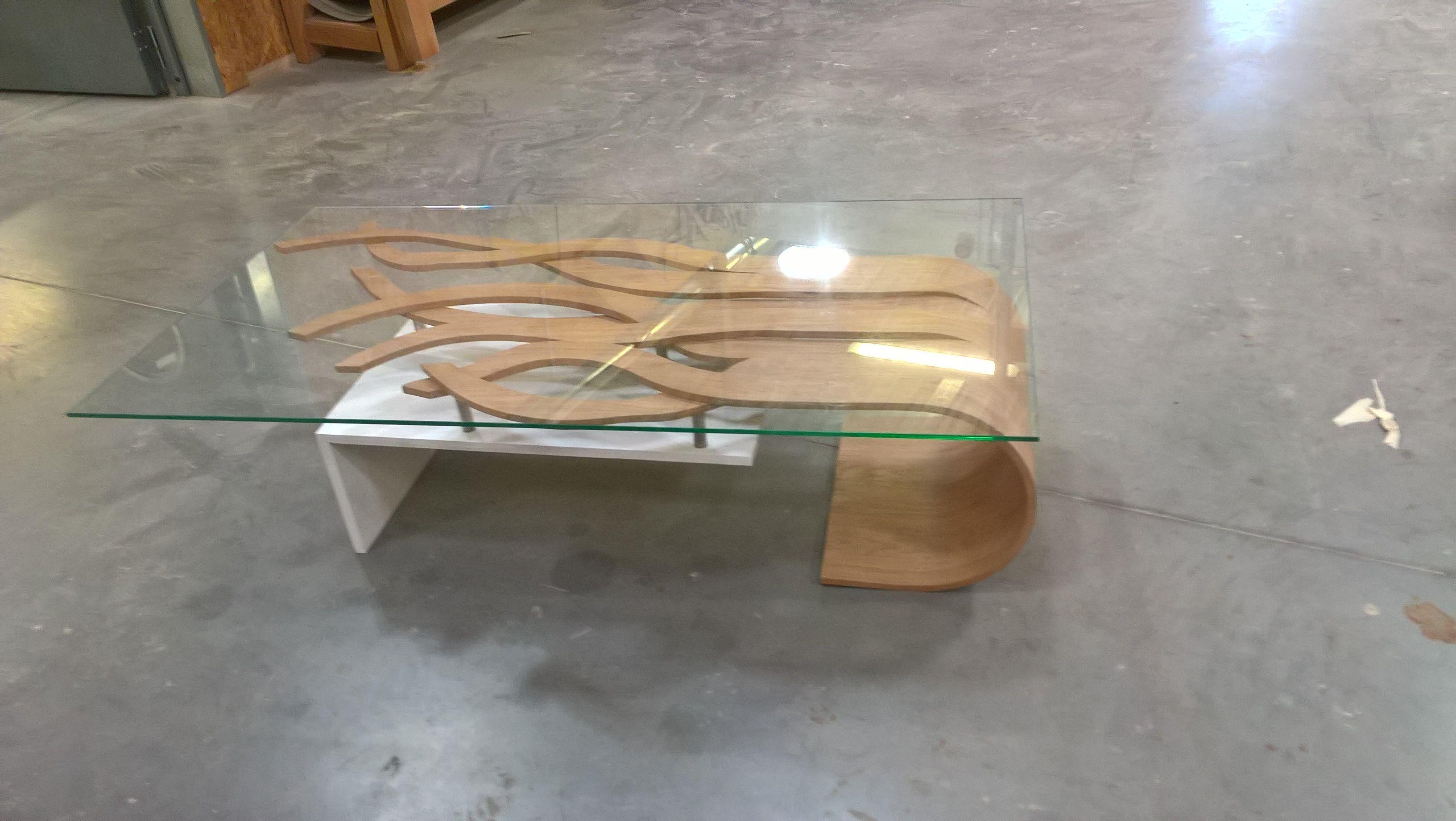 Cette Table Basse En Chene Brosse Et Laque Blanc A Ete Realise