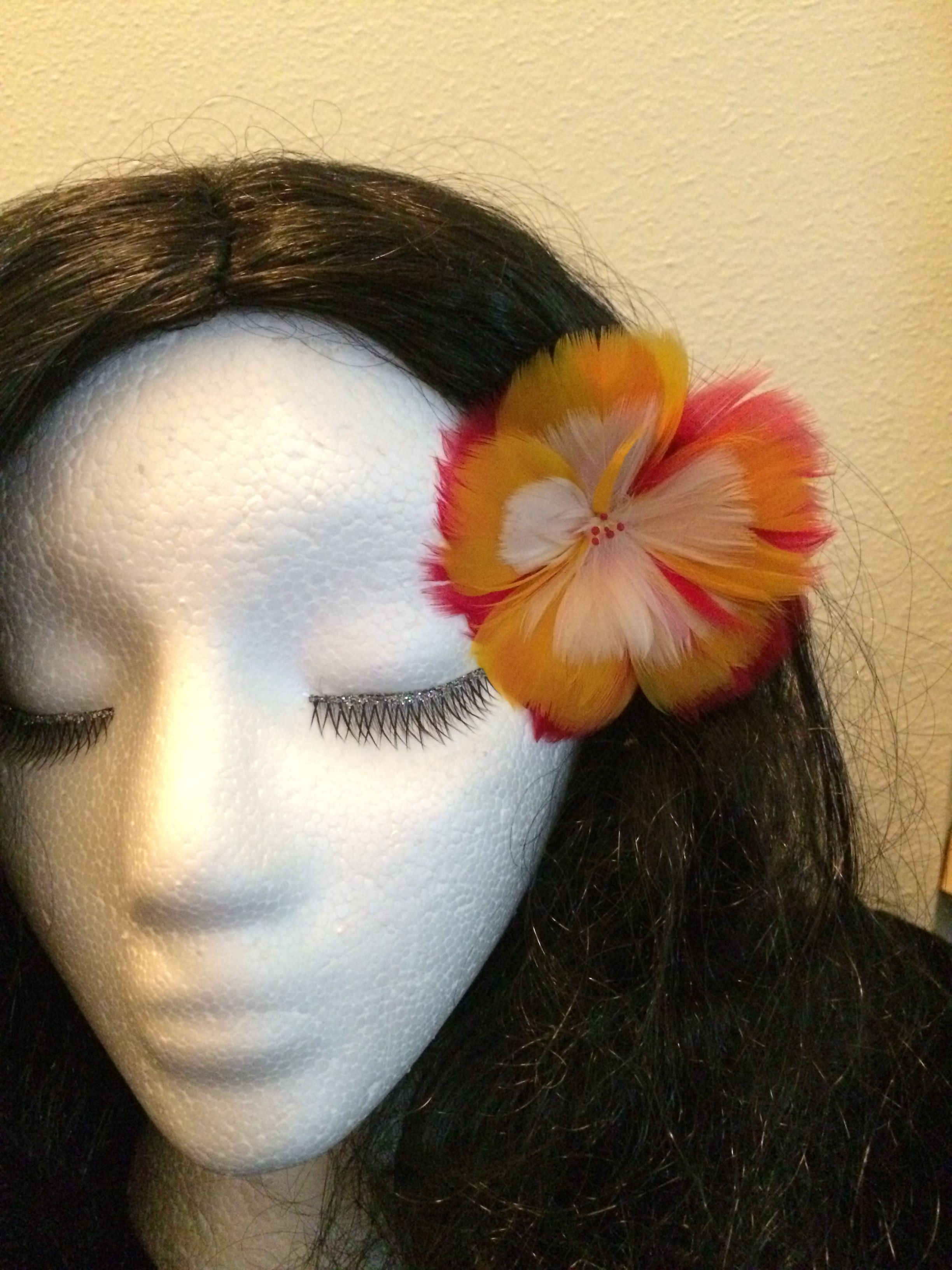 New Hawaiian Monarchy Feather Flower Ear Pick 2000 Vintage