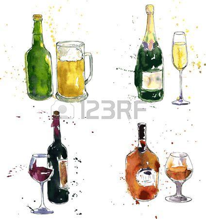 Stock Vector Bottle Drawing Bottle Glass