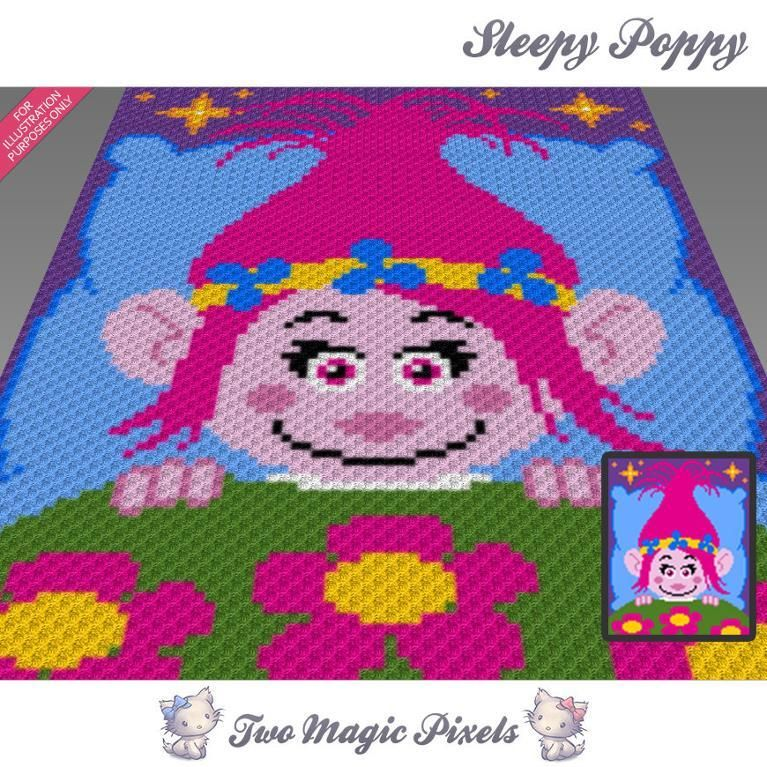 Sleepy Poppy C2C Graph (Trolls) | Wolldecke, Häkeln und Muster