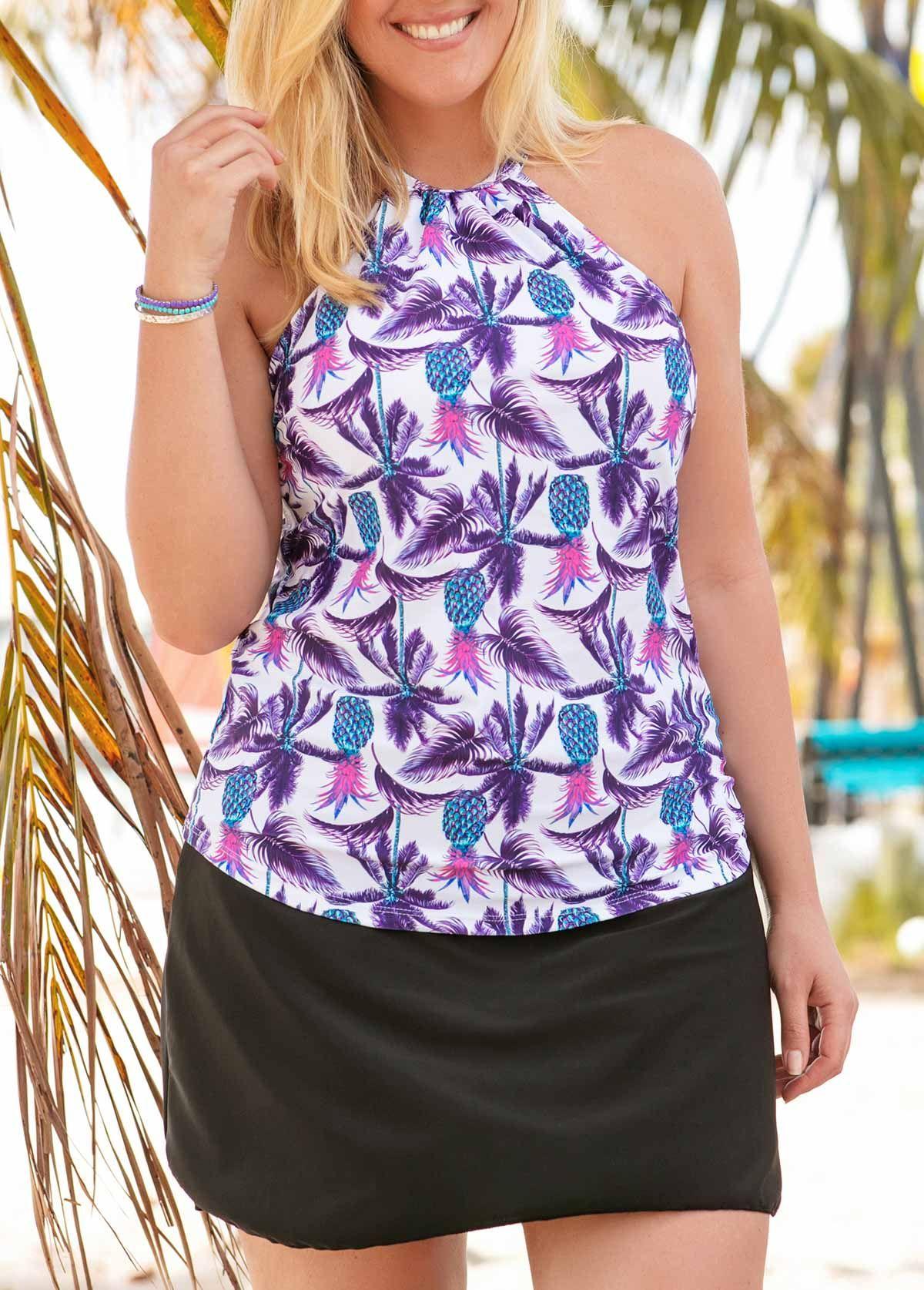 c1ecbbda45684 Printed Swimwear Top and Black Pantskirt - Plus Size