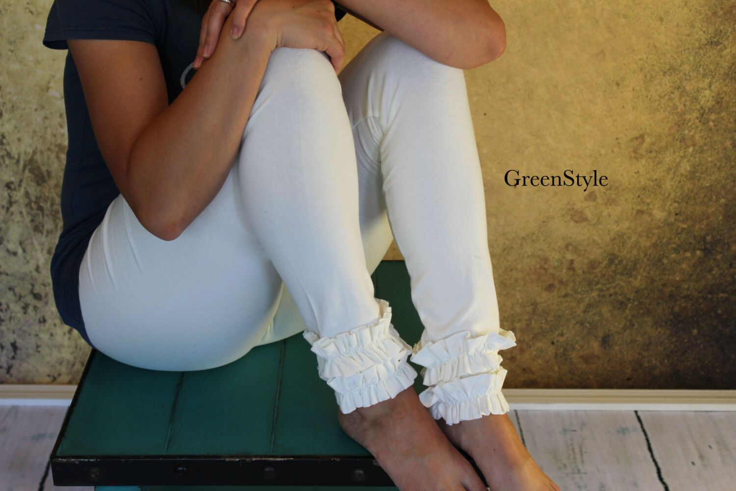 Cream or Off White Ruffled Leggings from GreenStyle by