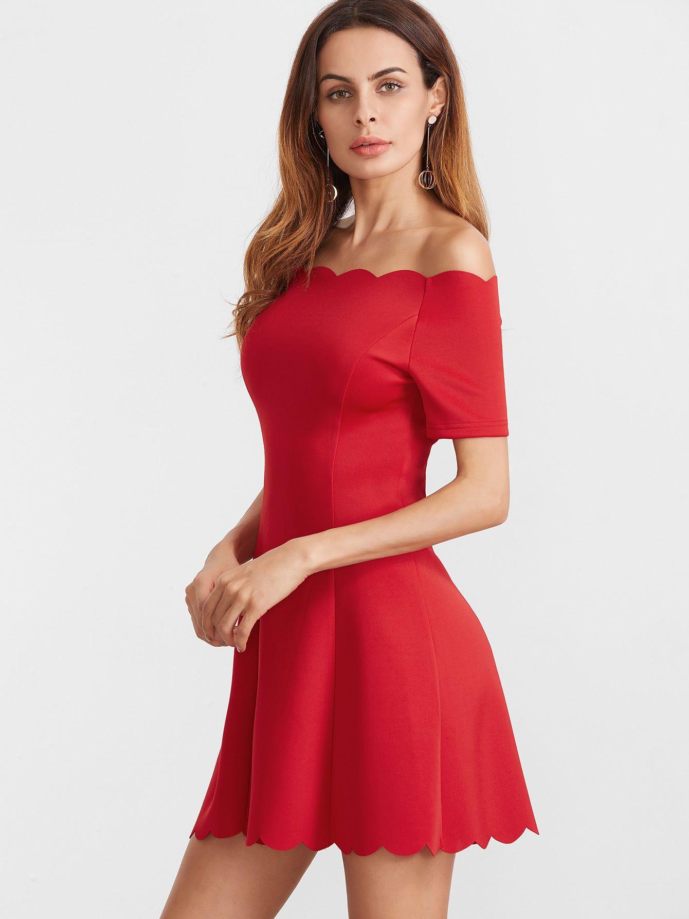 a5d916aadb Mayura Red Off Shoulder Dress. SheIn Scallop Edge Bardot Neckline Fit And  Flare Dress - $14