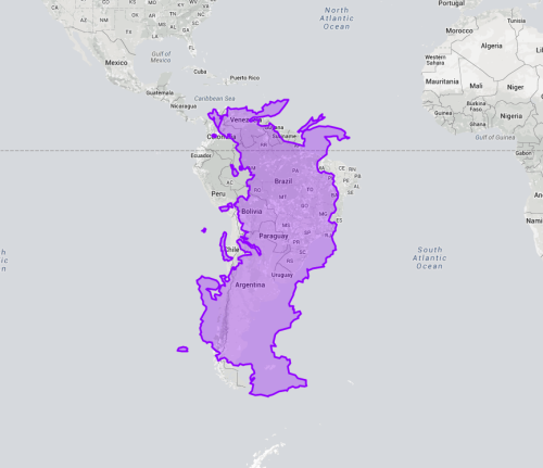 Russia from east to west is similar to South America from north to