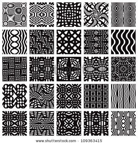 Set of monochrome geometric seamless patterns. Vector backgrounds collection. by Sylverarts, via ShutterStock