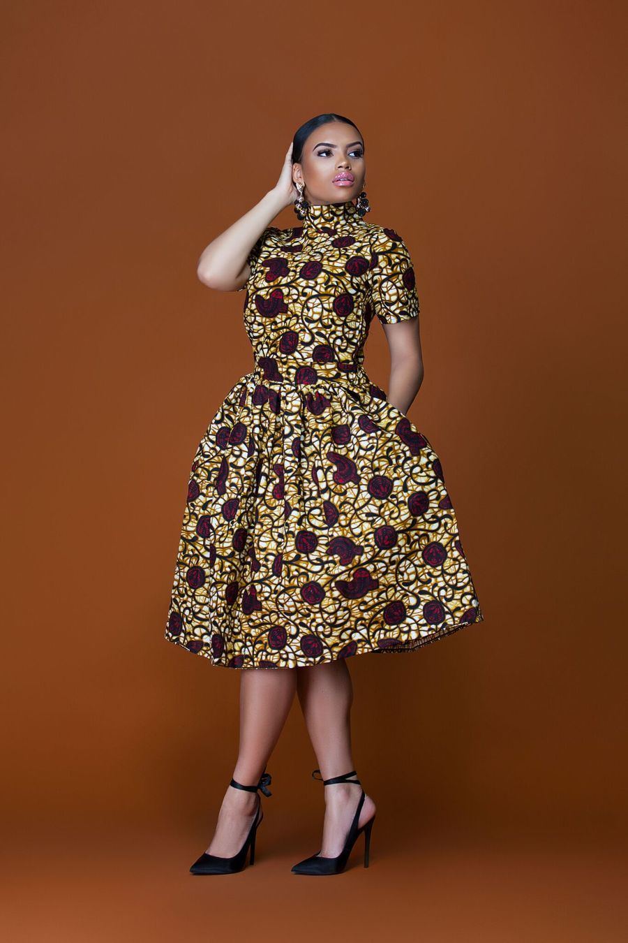 African Print Senegal Midi Dress: African Print Uganda Midi Dress