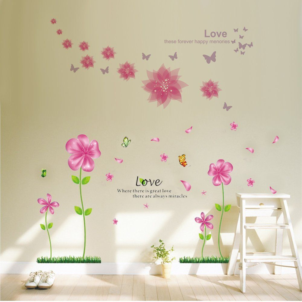 B.GTAGO Lovely Pink Petal Flowers and Butterflies Wallpaper for ...