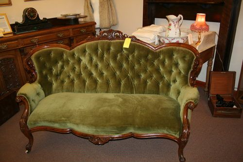 Antique Victorian Sofa Reserved For Stacie Settee Moss Avocado Green Velvet Winter Chartreuse Home Decor Feminine