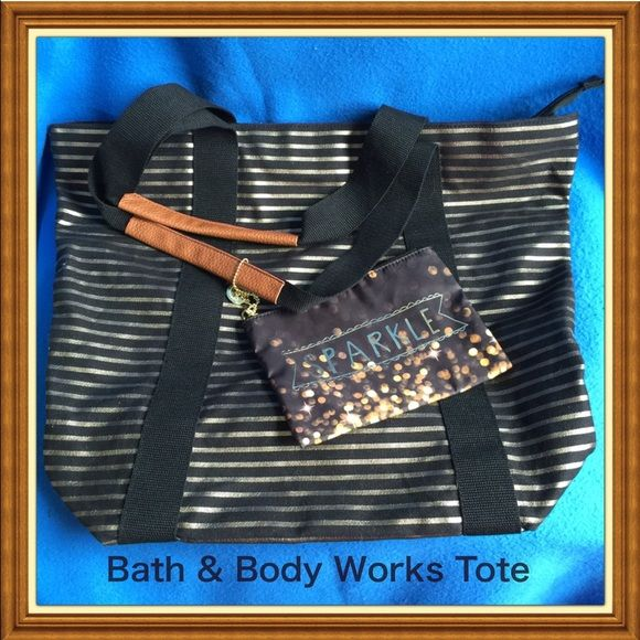 """Bath & Body Works Tote w/small zippered bag. NWT. Black tote with titanium stripes, black zipper closure at top w/gold zipper pull. Bag measures bottom- 5""""X11.5"""", bag is 15"""" across at the top, 17"""" across at the bottom & has a 5"""" wide base. Fully lined with black fabric inside, but no pockets of any kind. But does have the detachable small bag with the word """"SPARKLE"""" w/ sparkly gold, copper& cream faux sparkle fabric. It measures 6.75""""w X 5""""h. Black zipper closure with gold zipper pull…"""