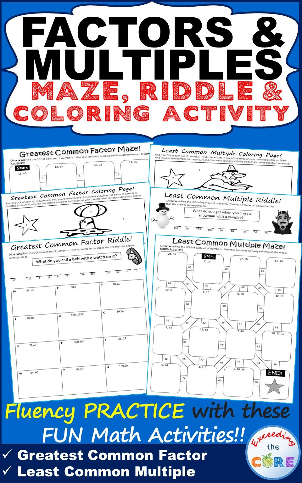 FACTORS & MULTIPLES GCF & LCM Mazes, Riddles & Coloring Pages (Fun ...