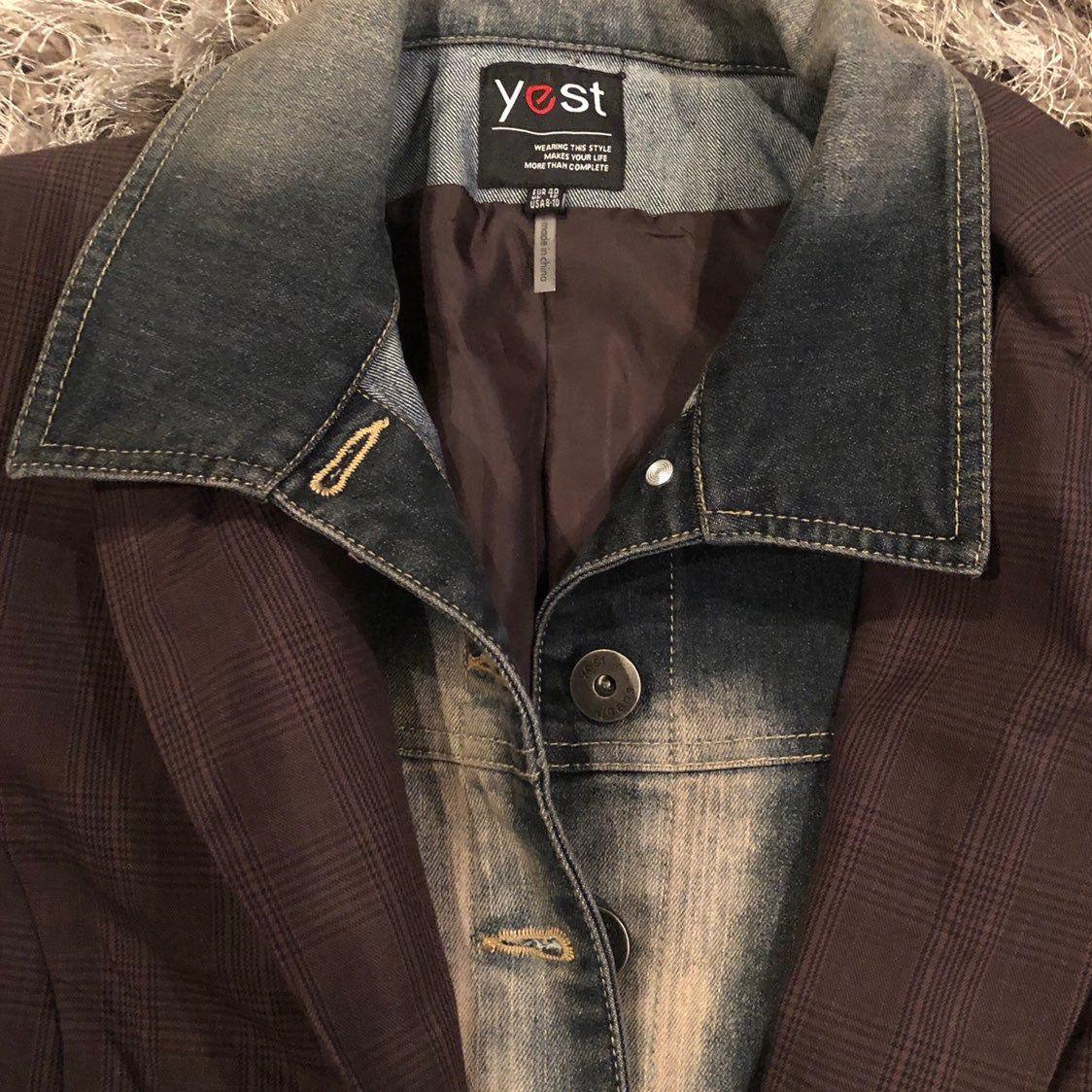 Yest Brown Blazer Jean Jacket Unique Mercari In 2020 Blazer With Jeans Brown Blazer Jean Jacket Blazer [ jpg ]