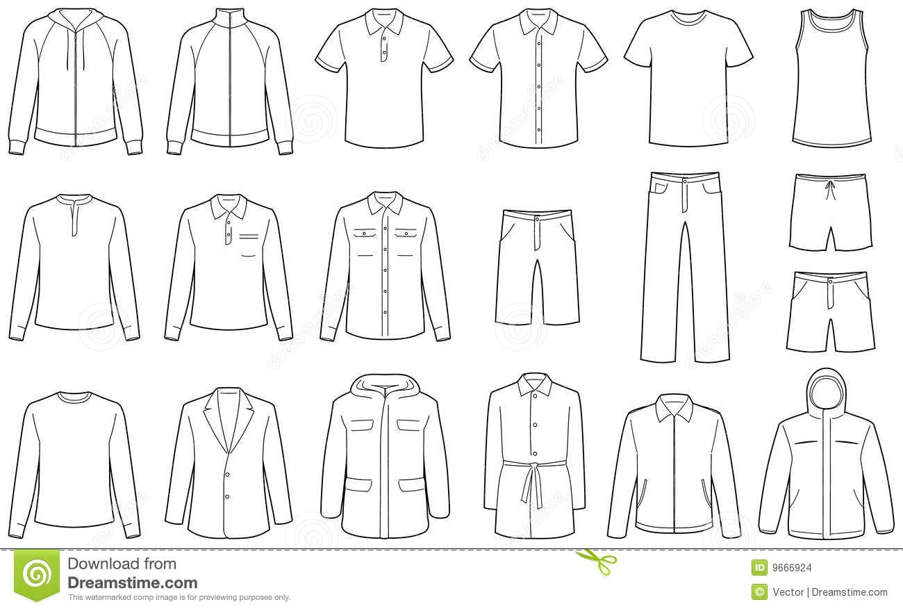 Men\'s clothes vector illustrations | Fashion Flat Sketches | Pinterest