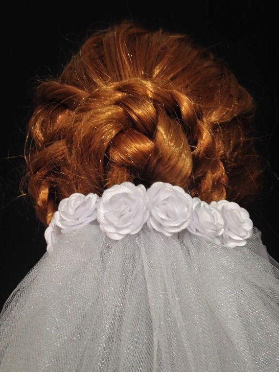 White Waterfall Medium Lenght Elegant Wedding Veil With by CeAndBo