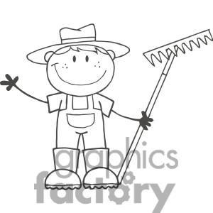 Black And White Farmer Boy Holding A Rake Clipart Royalty Free