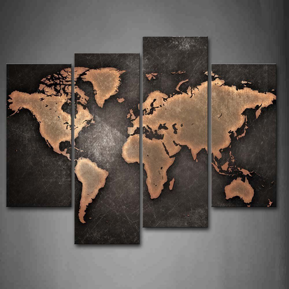 World Map Painting Vintage Decoration 4 Piece Set On Canvas Wall Art Living Room Worldmappaintingvintage Wall Art Painting Map Wall Art World Map Canvas