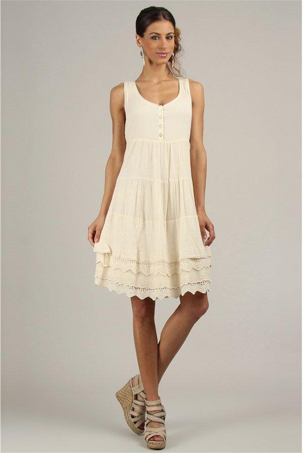 Moteriška suknelė, nebalintos drobės spalvos - Tera Bora | Stilago