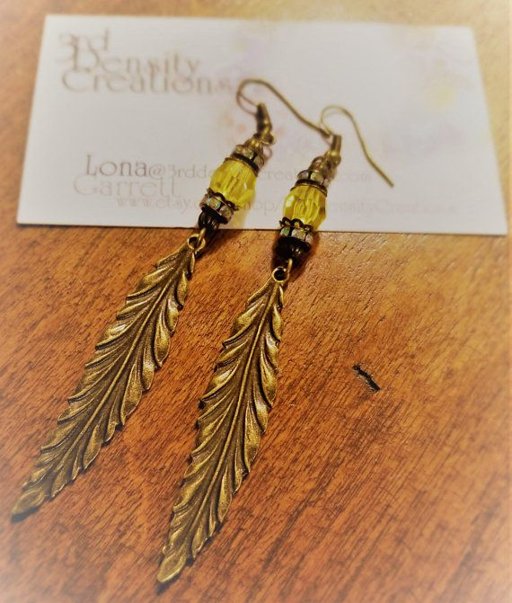 6856b0dcd Yellow Beaded and Antiqued Leaf Earrings | My Handmade Jewelry ...