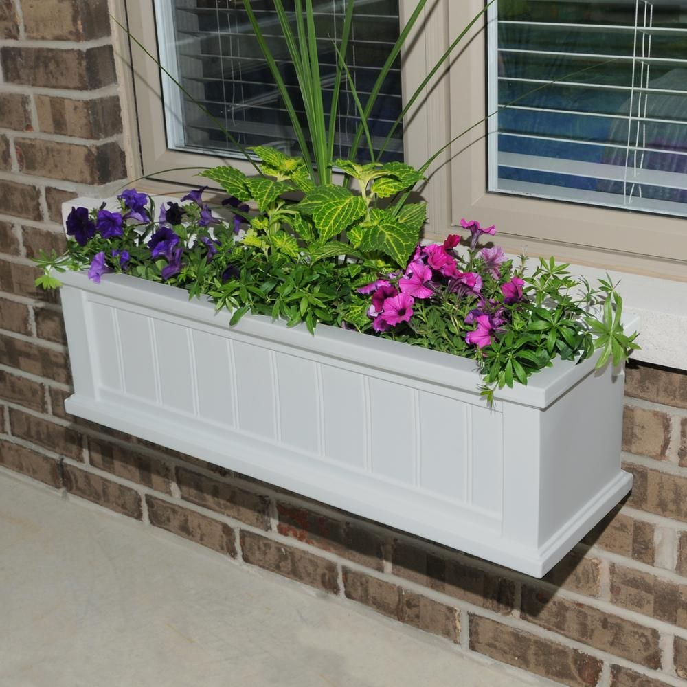 Mayne Self-Watering 11 in. x 48 in. White Cape Cod Window Box-4841-W - The Home Depot #selfwatering