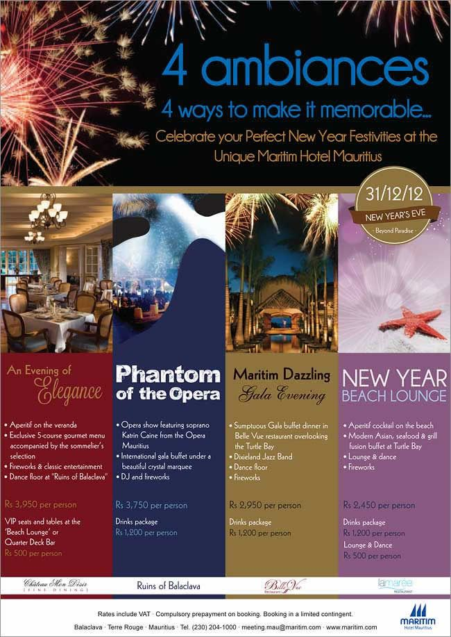 New Year Eve At Maritim Hotel Mauritius 4 Ambiances 4 Ways To Make It Memorable Info 204 1000 How To Memorize Things Mauritius Hotels Beach Lounge