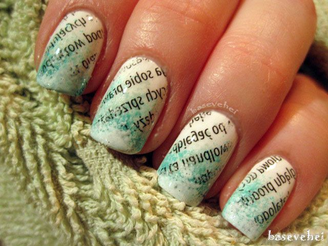 Newspaper Nails Nail Art Basevehei Pinterest Newspaper Nails