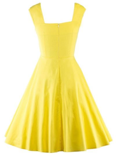 6f2f8ea048937 Pleated Vintage Square Neck Sleeveless Swing Cocktail Evening Dress  novashe.com