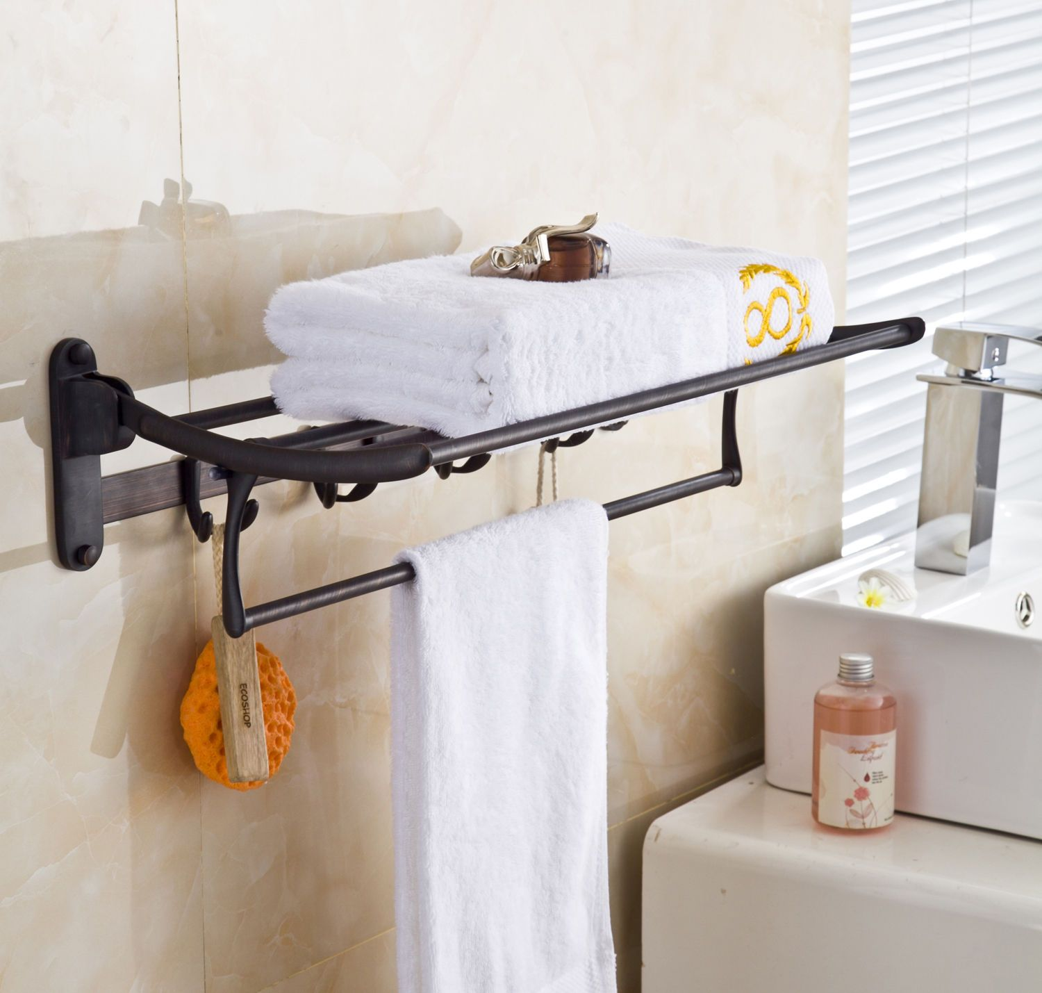 towel shelf stand iron copper for products bathroom storage rack organizer