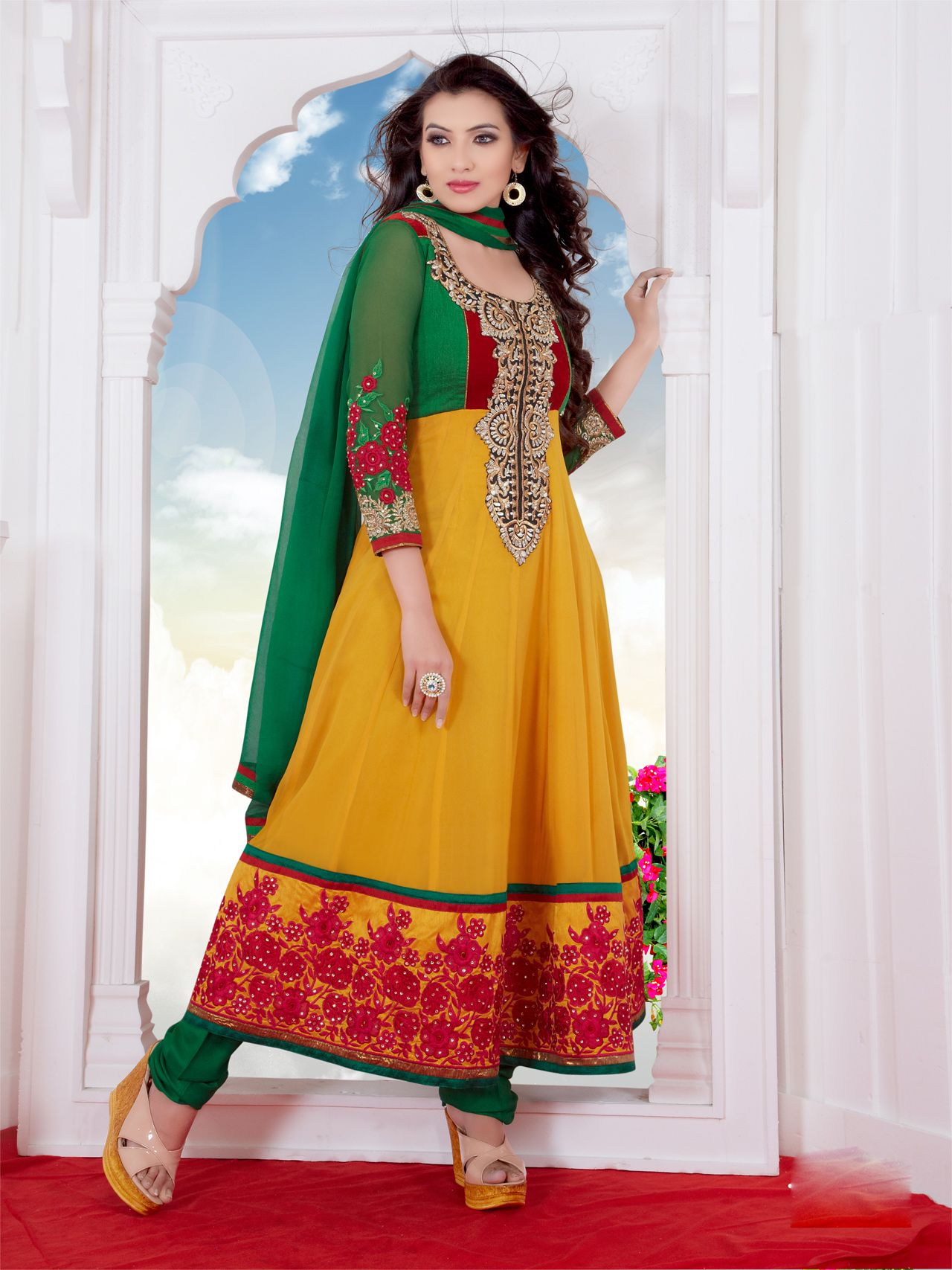 Usd yellow pure viscose long anarkali suit hijab
