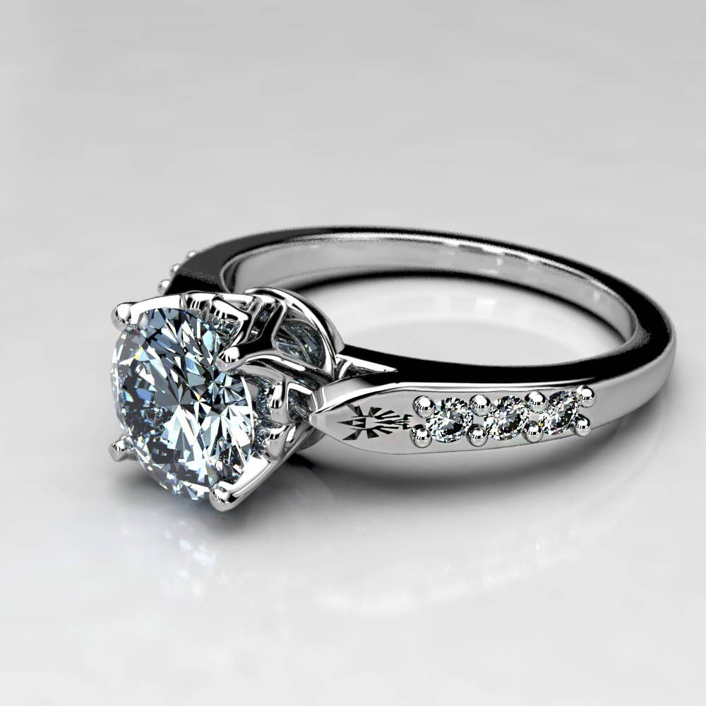 1 carat zelda engagement ring in 14k white gold 1 ct forever one moissanite engagement - Zelda Wedding Ring