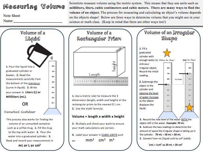 Volume Practice Freebie General Science Science