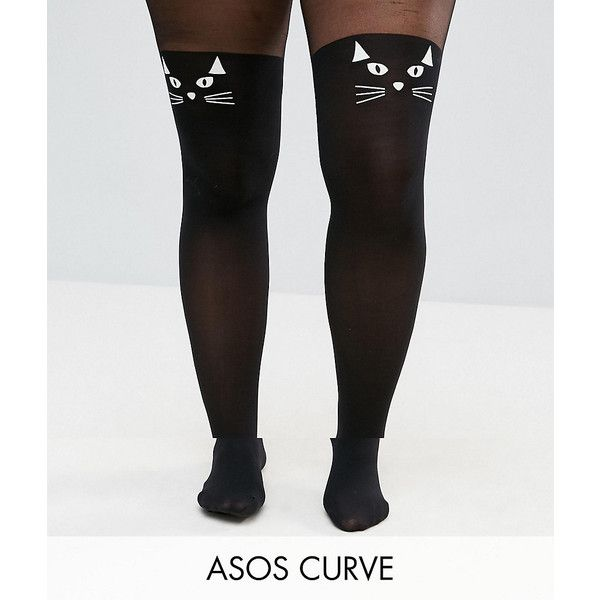 5e55ff0297096 ASOS CURVE HALLOWEEN Glow In The Dark Cat Tights ( 16) ❤ liked on Polyvore