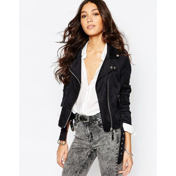 4cf90f26e83 Pimkie Faux Suede Biker Jacket ($46) ❤ liked on Polyvore featuring  outerwear, jackets, black, cropped moto jacket, cropped motorcycle jacket,  ...