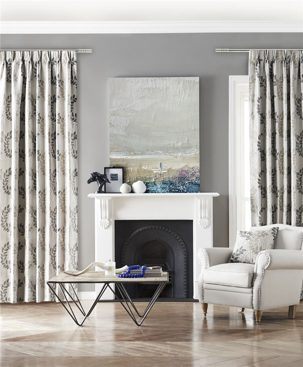 Christelle Is An Invigorating Drapery Cloth That Will Enliven Any Space The Scrolling Leaf Motifs Curtains For Grey Walls Home Curtains Custom Made Curtains Wall curtains for living room