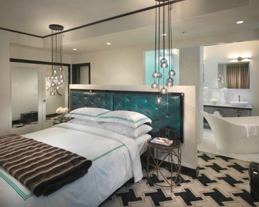 Classic Contemporary Skyline Penthouse Bedroom Interior Design of Hotel Frank, San Francisco
