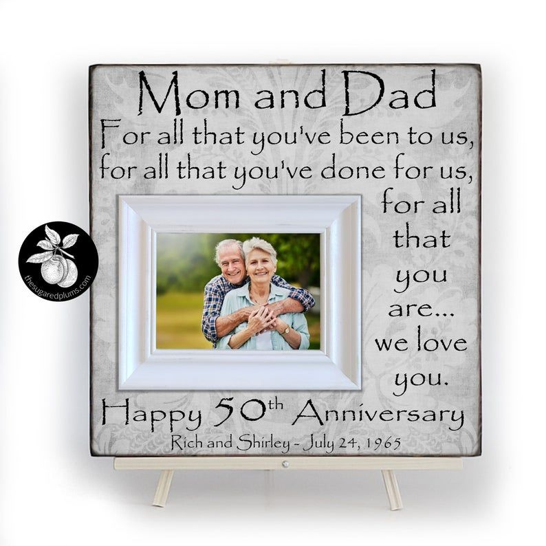 50th anniversary gifts for parents picture frame golden