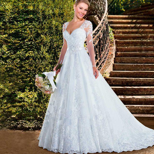 Romantic Pure White Sweetheart Long Sleeve Lace Wedding Dresses 2016 ...