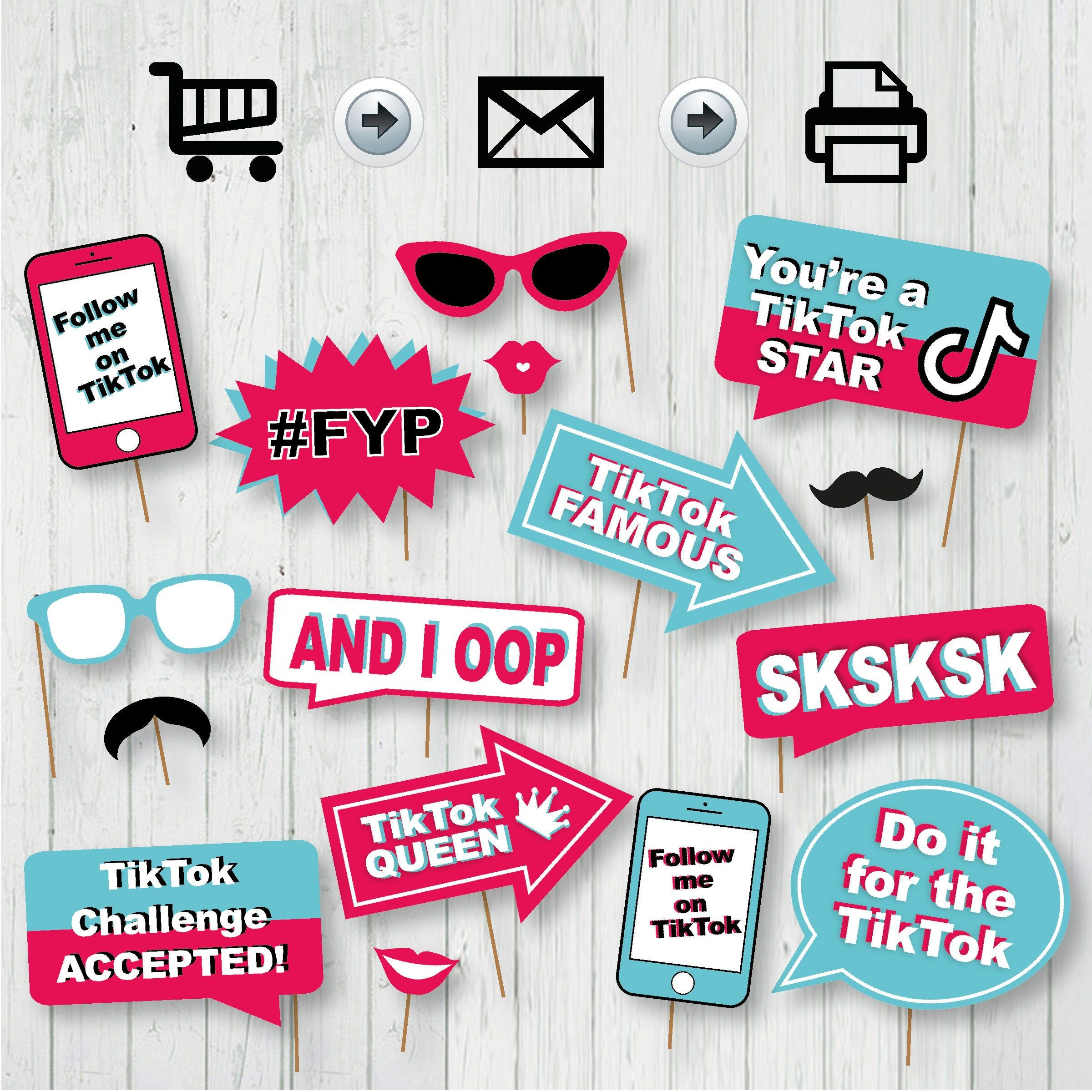 TikTok Party Photo Booth Printable Props Tik Tok Party