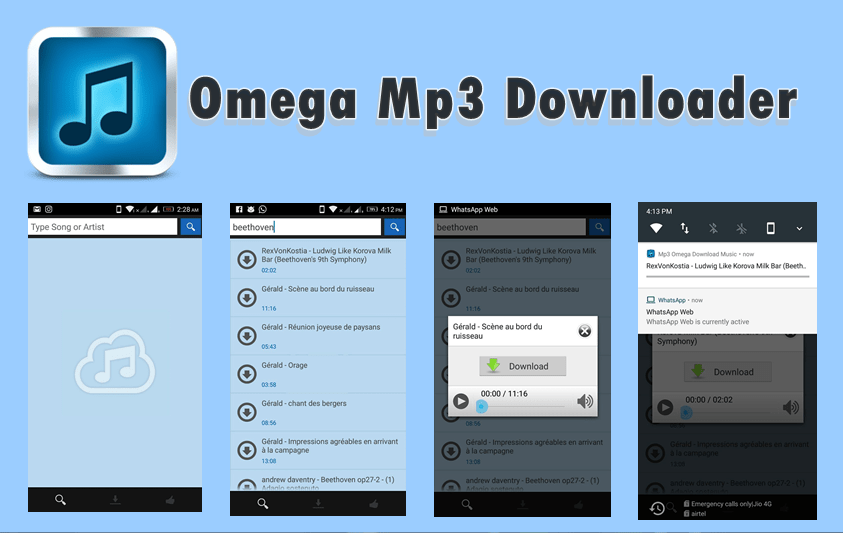 Omega Mp3 Downloader App for Android (Latest Version