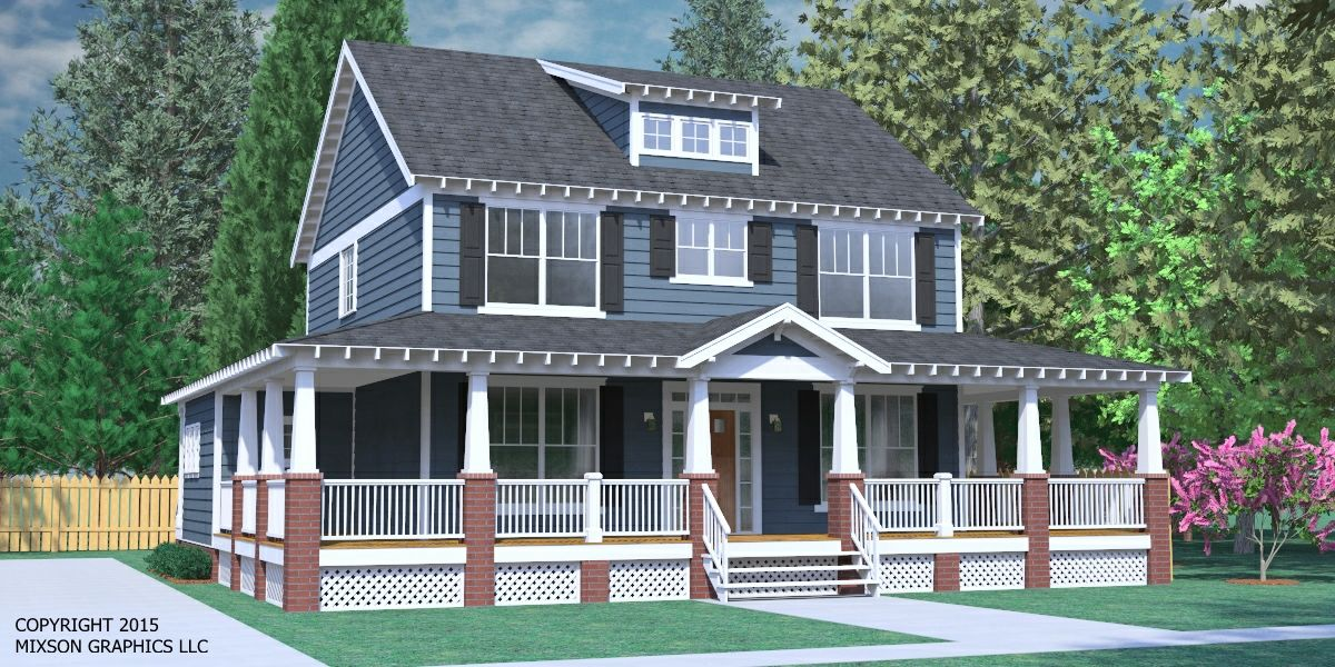 House plan 2234 2 b the gregg b wrap porch elevation for Craftsman wrap around porch