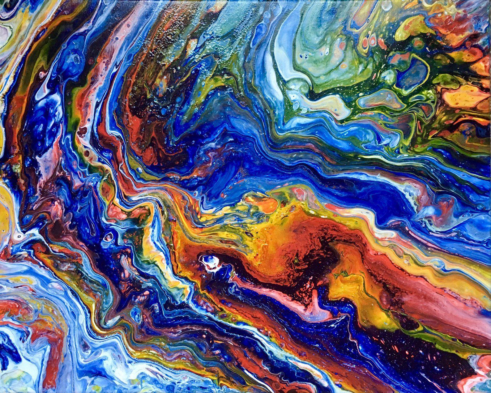 Abstract fluid art painting 16x20 wall art abstract art