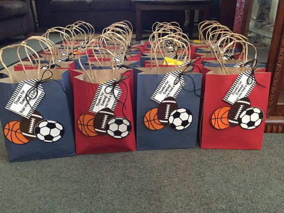 Sports themed party favor bags by prettypartydecor on Etsy