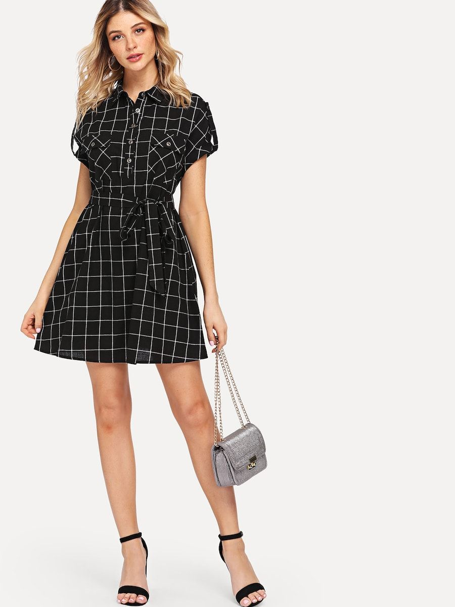 ad4018b3705a Rolled Tab Sleeve Pocket Front Belted Grid Dress -SHEIN(SHEINSIDE)