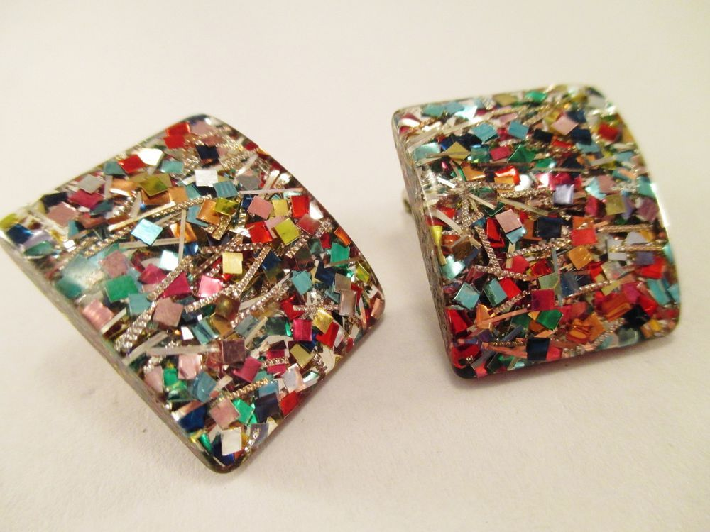 Vintage Clip On Earrings Lucite w/Multi Color Confetti Inside! #Unbranded #Clipon