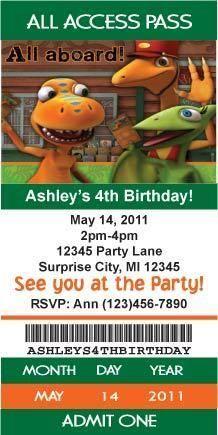 Dinosaur Train Ticket Style Birthday Party Invitations With Envelopes Custom
