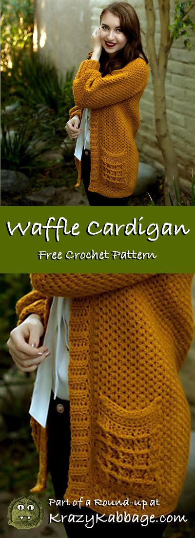 Cozy Cardigans Free Crochet Patterns - Krazy Kabbage #crochet #cardigan #free #pattern #fall #style #fashion #waffle #loopsandthreads #impeccable #gold #yarn #crochetpatterns