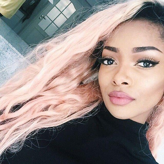 Pastel Pink Dark Skin Hair Inspo Color Boring Hair Pastel Hair