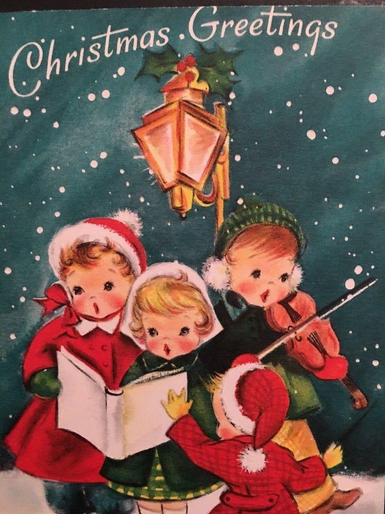 Christmas Greeting Hallmark Vintage Card Little Kids Caroling