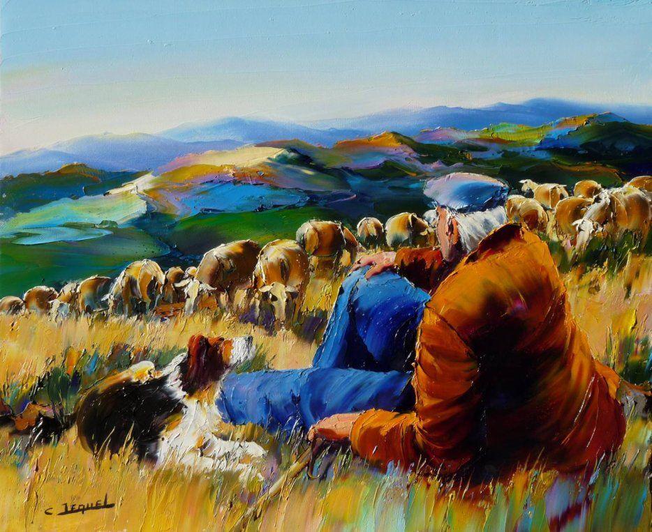 Grazing on the mountain christian jequel art paysages for Peinture a la spatule