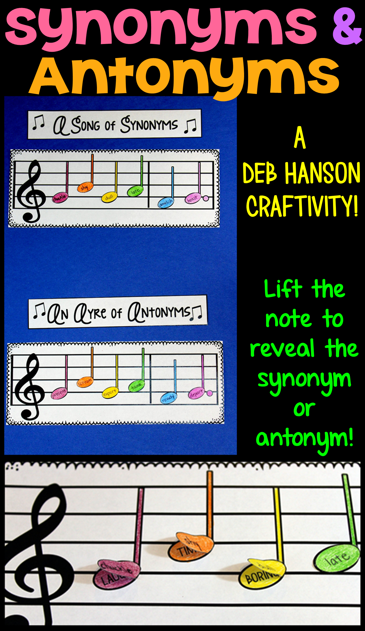 Synonyms and Antonyms Craftivity | 5th Grade Common Core | Synonyms ...