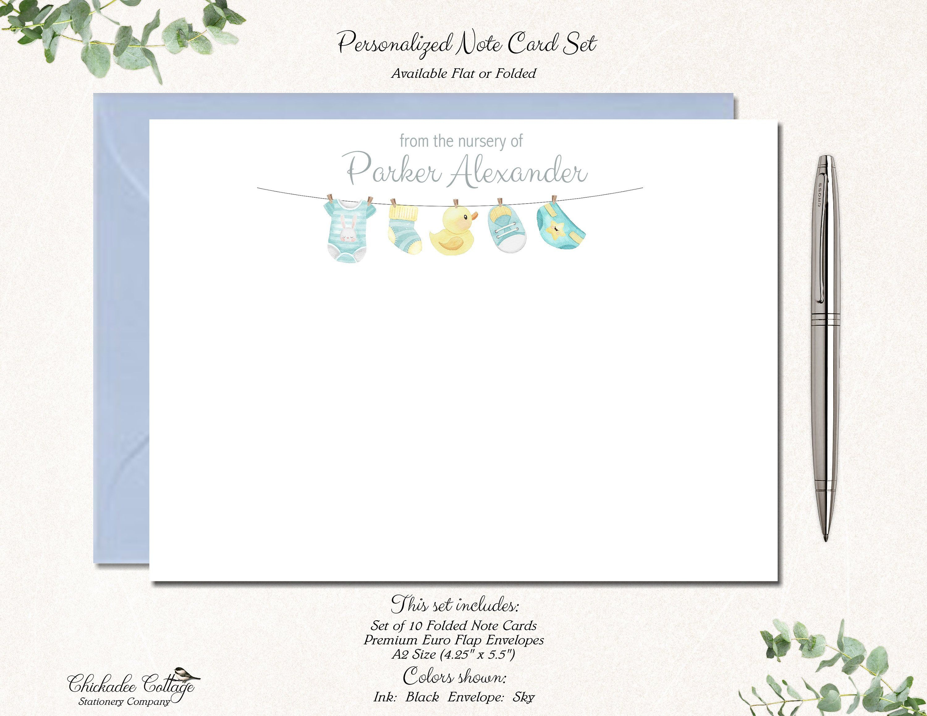 Baby-Shower Thank You cards Custom for Girl Boy or Neutral Set of 10